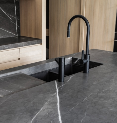 Guthrie Kitchen And Bath Black Faucet Black Countertop