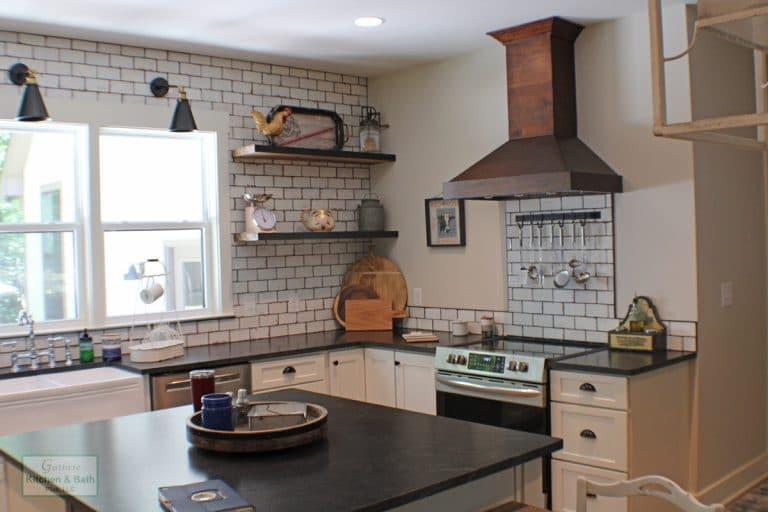 farmhouse kitchen with floating wood shelves