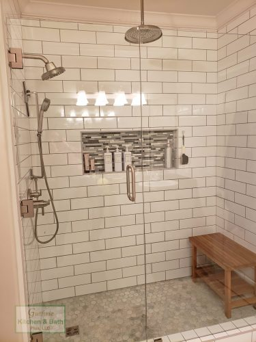 Large Shower With Subway Tile